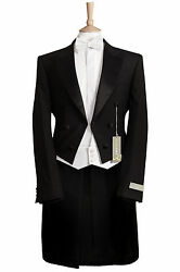 BLACK EVENING WHITE TIE TAILS 100% WOOL ORCHESTRA TAILCOAT MASTERHAND GERMANY GBP 175.00