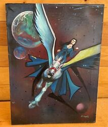 1998 Sci Fi Fantasy 3 Moon Lady Flying Pegasus Oil Painting By Legare