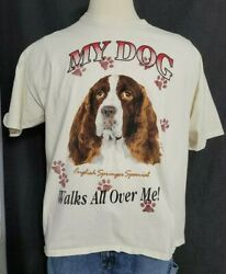 Beagle Dog and Puppies Men#x27;s white T Shirt Size XL Vintage Look
