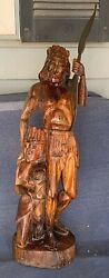 Vintage Wood Statue Sculpture Carving Native American Indian Warrior With Family