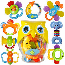 Baby Rattle Teether Toy Set Grab Infant Newborn Play 8-piece Pack Gift Plastic