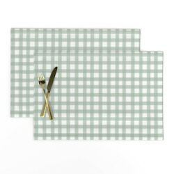 Cloth Placemats Rustic Grid Watercolor Farmhouse Checkered Mint Green Set Of 2