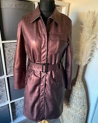 La Redoute Pink Metallic Faux Leather Belted Mid Length Jacket Size 12 Autumn