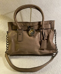 Textured Leather Handbag, Taupe, Chain Straps And Lock