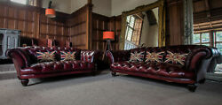Pair Of Grand Tetrad Oskar Antique Red Oxblood Leather Chesterfield Sofas Suite