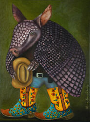 Armadillo Texas Texan Humor Cowboy Boots Flowers Western Hat Blue Jeans Funny