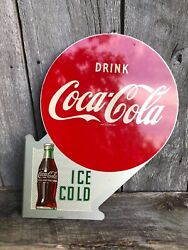 1951 Coca Cola Flange Sign. Painted Metal. 22.5inx18in. Double Sided.
