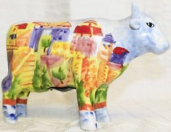 European Hand Painted Bull Cow Coin Bank Village Country Ceramic Amsterdam