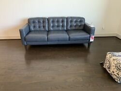 Zane Blue Leather Sofa And Chair