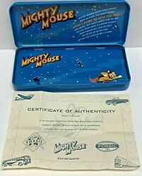 Mighty Mouse Fossil Watch Tin Enamel Pin Pencil Box Certificate Authenticity