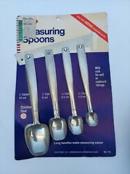 Vintage New Mcm Foley Long-handle Stainless Steel Measuring Spoon Set With Rack