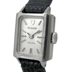 Tudor Precision Manual Ladies Silver Dial Antique Ss Leather Band