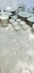 120+ Pc. 1950and039s Rare Rosenthal Glass And China Spencer Rose Pattern