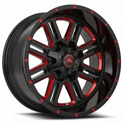 4 New American Off-road Wheels A106 20x12 5x114.3 -44 Black Milled Red