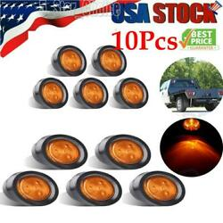 10x Amber 2.5inch Round Side Marker Light 4 Led Truck Trailer Signal Clearance
