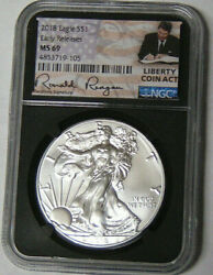 Ngc Ms69 2018 American Silver Eagle Early Release Ronald Reagan Liberty Coin Act