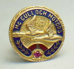 Vtg. Mcculloch Motors Corp. Chainsaw/outboard Dealer 10k Employee Tie/lapel Pin