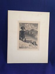 VINTAGE ARTIST SIGNED LYMAN BYXBE WILD COUNTRY CABIN ETCHING IN ORIGINAL FRAME
