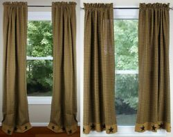 Primitive Star Lined 63 And 84 Curtain Panels By Primitive Home Decors