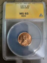 1971p Anacs Ms65 Rd Lincoln Cent Penny Wddo-003 Fs103 Ddo Doubled Die Rare