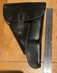 Ww2 German Army 1943 Dated Walther P38 Black Leather Holster Well Marked And Dated