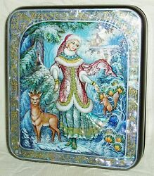 Russian Lacquer Box Kholui Snow Maiden In Winter Forest Miniature Hand Painted