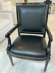 Rare Set 8 Maison Jansen Attributed Ebonized Black Lacquer Arm Dining Chairs Wow