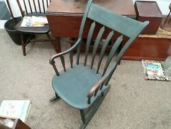 Antique 19th Century Green Painted Wooden Windsor Rocking Chair
