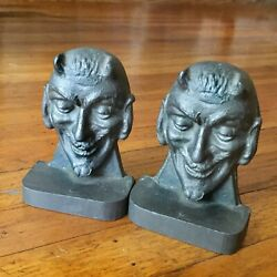 Rare - Antique Solid Lead Mephistopheles Bookends - German Occult Figural Devil