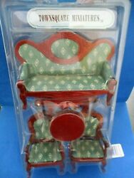 Miniature Dollhouse Victorian Parlor Living Room Furniture 5pc Sofa Chairs Table