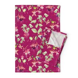 Fuchsia Flowers Flowery Garden Linen Cotton Tea Towels By Roostery Set Of 2
