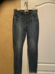 New Cabi 5694 Exposed Button Fly High Rise Blue Denim Skinny Jeans Womens Size 8