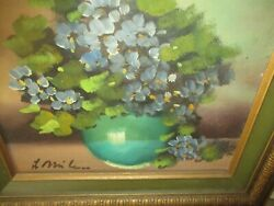 Antique Sweet Oil On Canvas Painting 1940and039s Hydrangea Nantucket Primitive Aafa