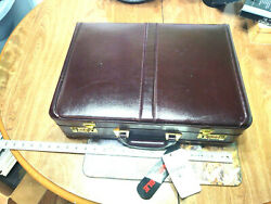 Heritage Brown Leather Attache Briefcase Combo Locks Expandable 18x13x4 11682