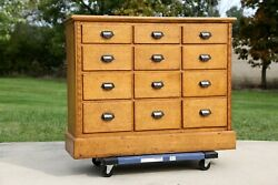 Antique Apothecary Cabinet 12 Drawer Wood Oak Counter Storage Cupboard Handles
