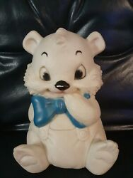 Vintage Sanitoy 7 White Bear Blue Bowtie Rubbef Squeaks 1960's