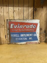 Evinrude Outboard Motors Embossed Sign Dealer Sign Wow Look Gas Oil