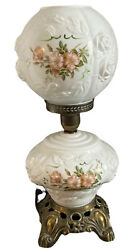 Vtg Parlor Lamp Gone W/ The Wind Hurricane Hand Painted Globe 22andrdquo Electric 3 Way