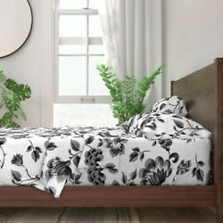 Shabby Chic French Floral Monochrome 100 Cotton Sateen Sheet Set By Roostery