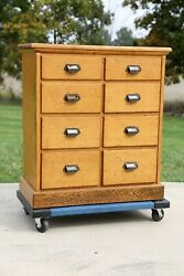 Antique Apothecary Cabinet 8 Drawer Wood Oak Kitchen Island Counter Drug Store