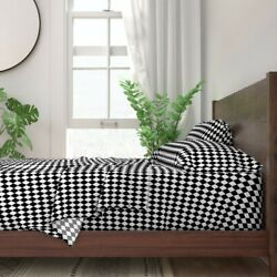Harlequin Check Diamond Black And White 100 Cotton Sateen Sheet Set By Roostery