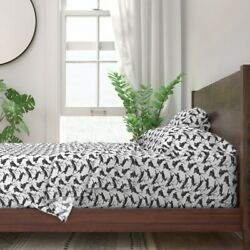 Rabbit Black White Fantasy Texture 100 Cotton Sateen Sheet Set By Roostery