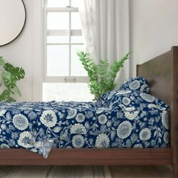 Navy And White Floral Flower Hand Drawn 100 Cotton Sateen Sheet Set By Roostery