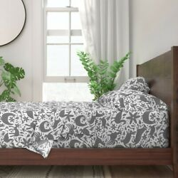 Grey Festive Otomi Nature Animals 100 Cotton Sateen Sheet Set By Roostery