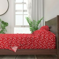 Atomic Modern Midcentury Inspired Red 100 Cotton Sateen Sheet Set By Roostery