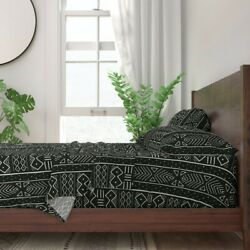 African And Mudcloth Black White Tribal 100 Cotton Sateen Sheet Set By Roostery