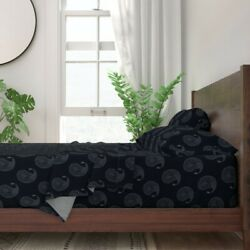 Paisley India Wood Block Black Decor 100 Cotton Sateen Sheet Set By Roostery