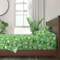 Mid Century Modern Green Equilibrium 100 Cotton Sateen Sheet Set By Roostery