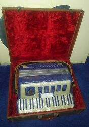 Vintage Masterfonic Piano/button 2-stop/-register Accordion Pearl-/marble-blue