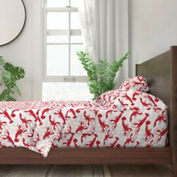 Summer Lobsters Seafood Kitchen Decor 100 Cotton Sateen Sheet Set By Roostery